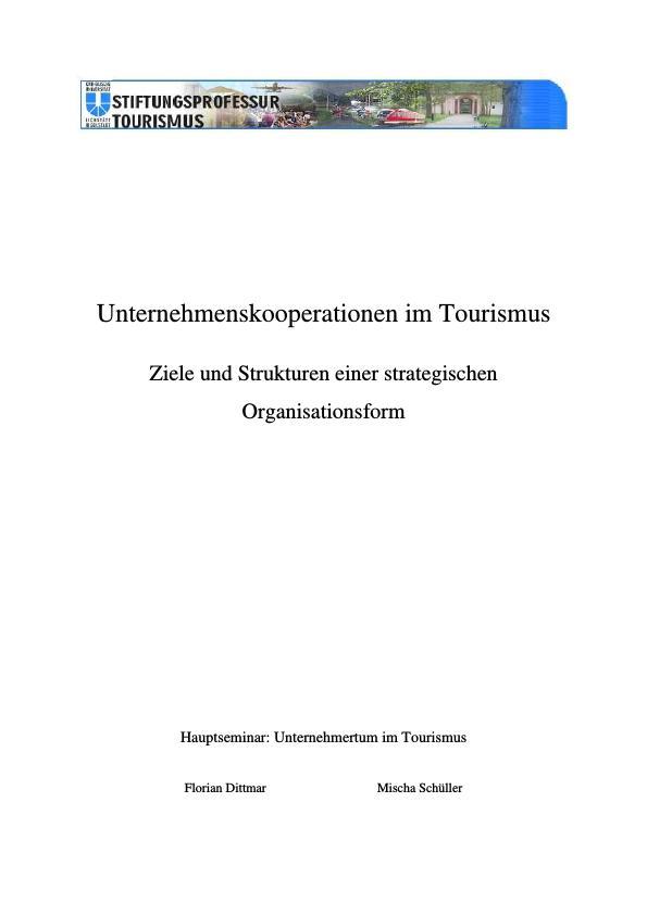 Titel: Unternehmenskooperationen im Tourismus