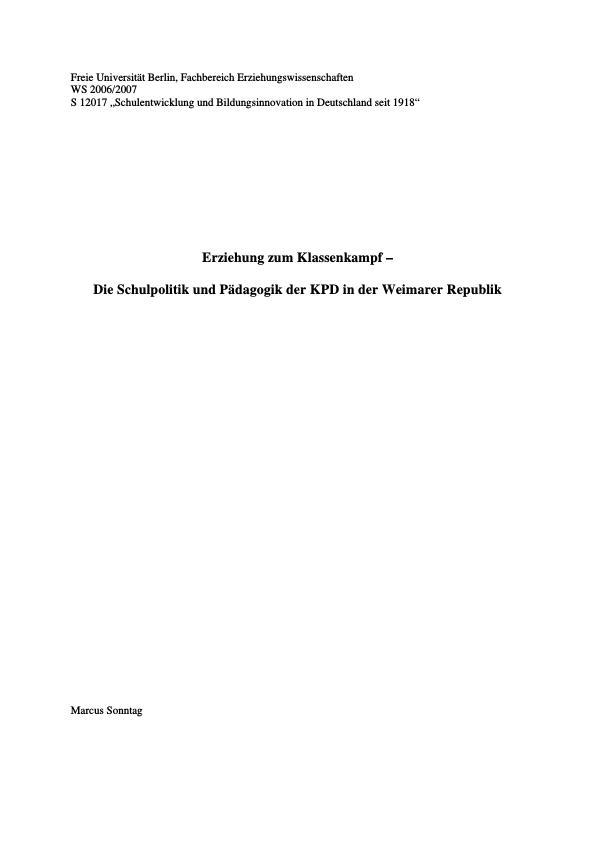 Titel: Erziehung zum Klassenkampf – Die Schulpolitik und Pädagogik der KPD in der Weimarer Republik