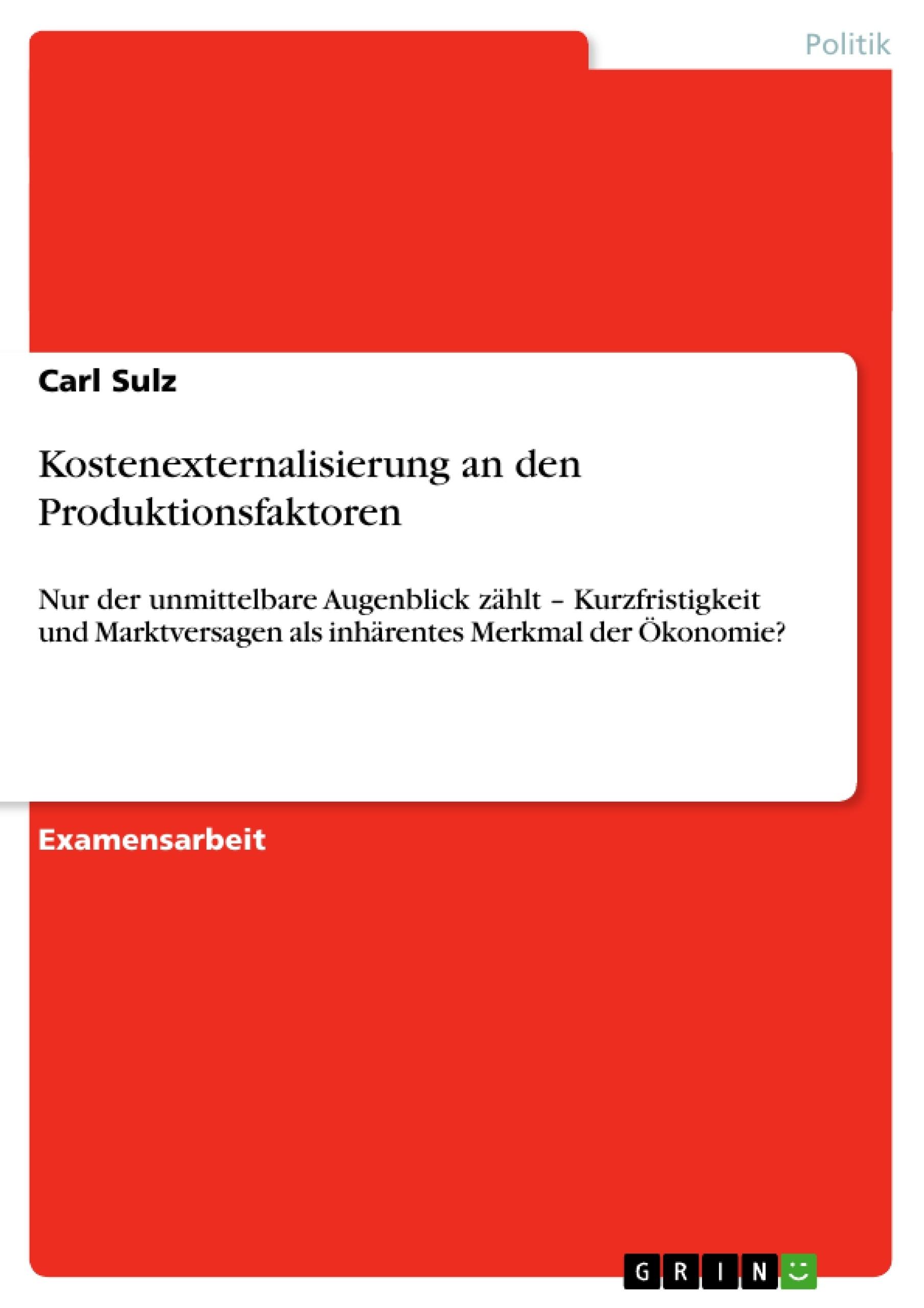 Titel: Kostenexternalisierung an den Produktionsfaktoren