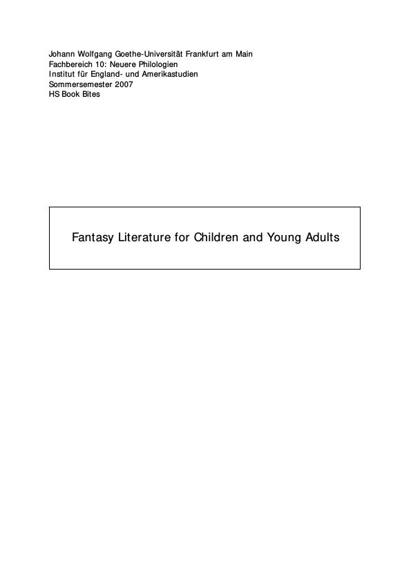 Title: Fantasy Literature for Children and Young Adults
