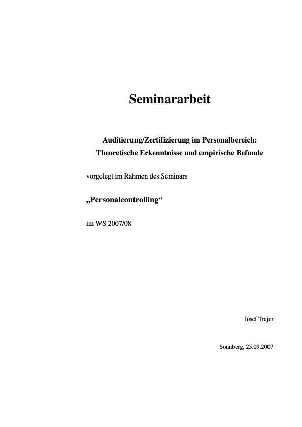 Titel: Auditierung / Zertifizierung im Personalbereich