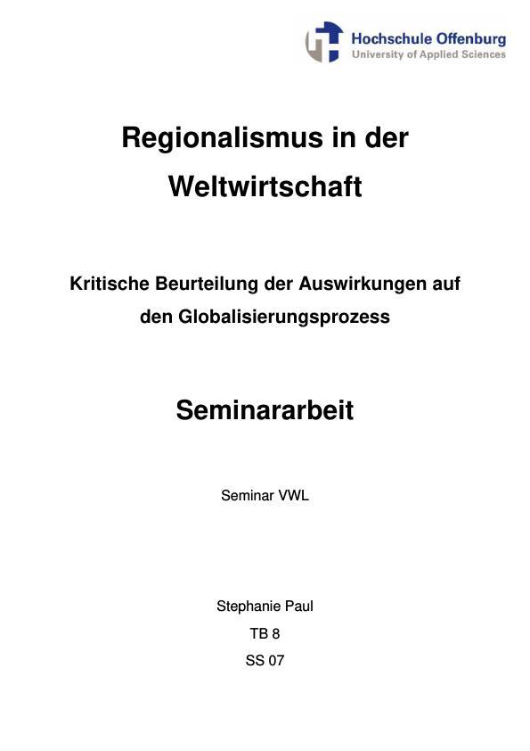 Titel: Regionalismus in der Weltwirtschaft