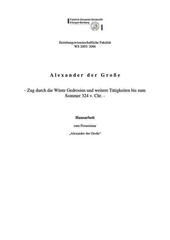 Titel: Alexander der Große