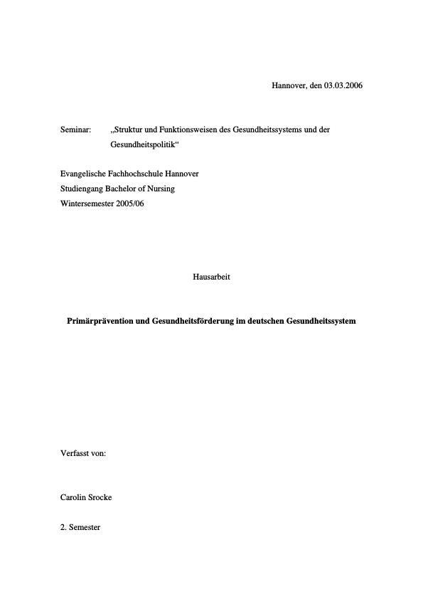 Titel: Primärprävention und Gesundheitsförderung im deutschen Gesundheitssystem