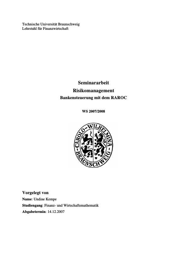 Titel: Bankensteuerung mit dem RAROC