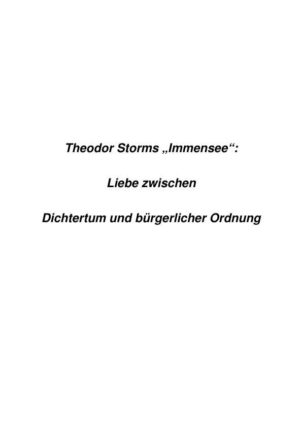 """Titel: Theodor Storms """"Immensee"""" - Liebe zwischen Dichtertum und bürgerlicher Ordnung"""
