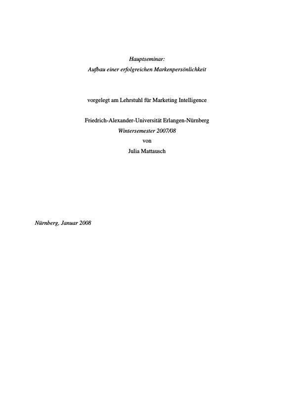 Titel: Aufbau einer erfolgreichen Markenpersönlichkeit
