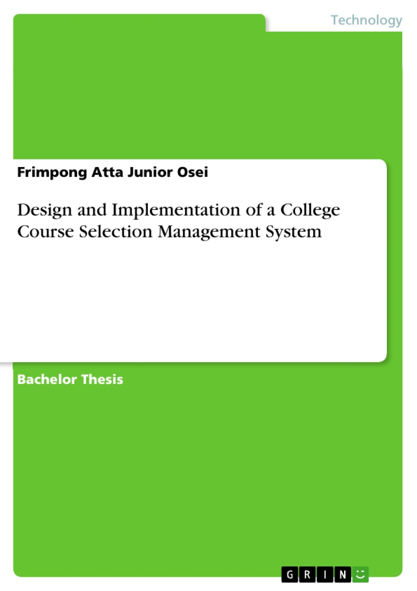 Title: Design and Implementation of a College Course Selection Management System