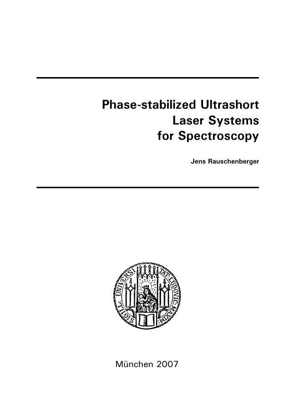 Title: Phase-stabilized Ultrashort Laser Systems for Spectroscopy