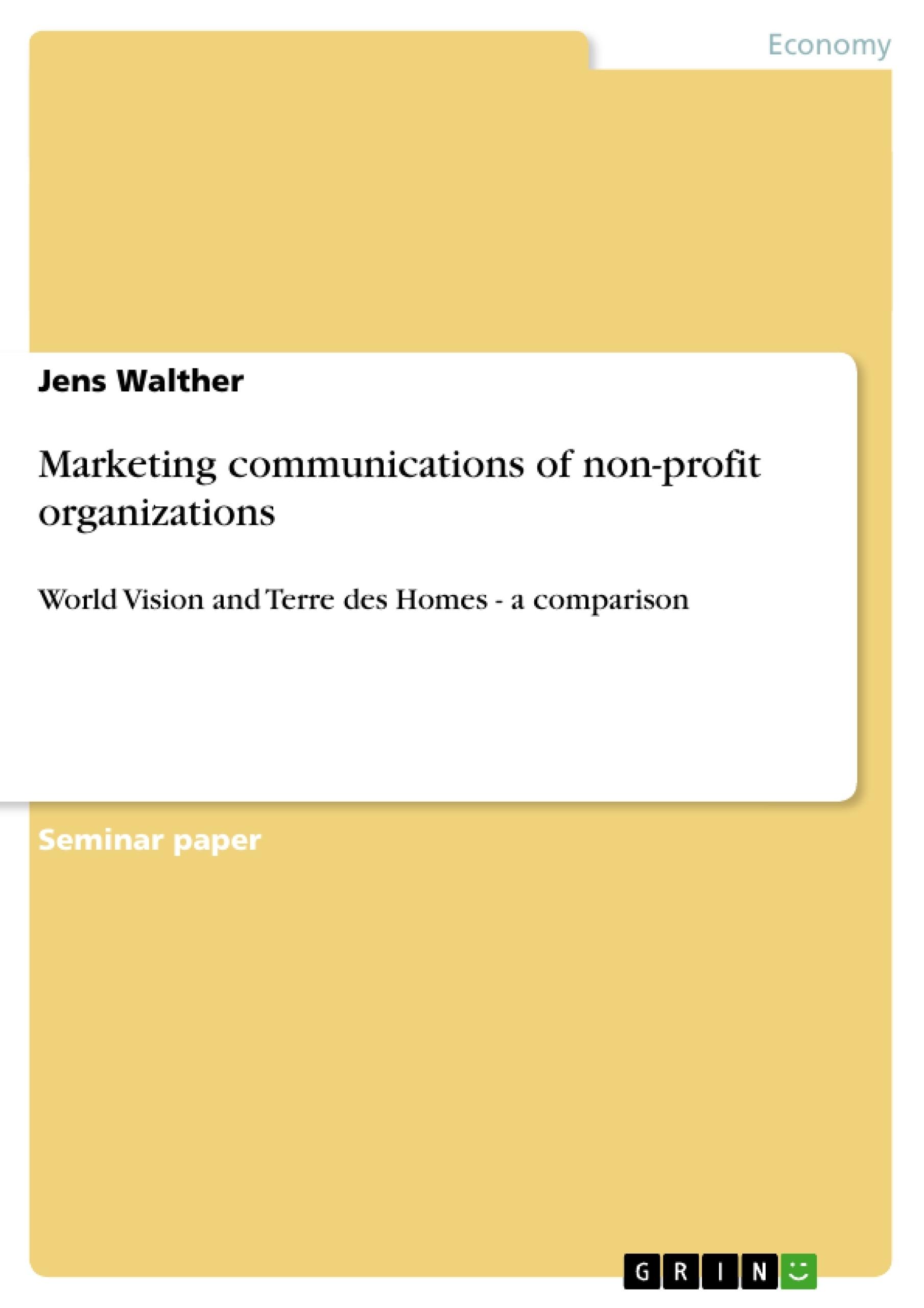 Title: Marketing communications of non-profit organizations