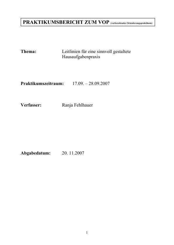 Titel: Leitlinien für eine sinnvoll gestaltete Hausaufgabenpraxis (Praktikumsbericht zum VOP)