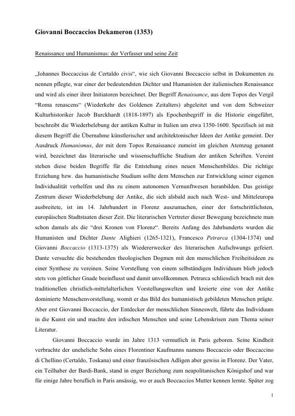 Titel: Giovanni Boccaccios Dekameron (1353) - Eine Kurzübersicht