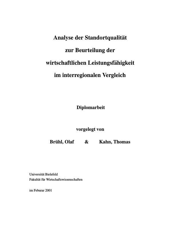 Titel: Analyse der Standortqualität zur Beurteilung der wirtschaftlichen Leistungsfähigkeit im interregionalen Vergleich