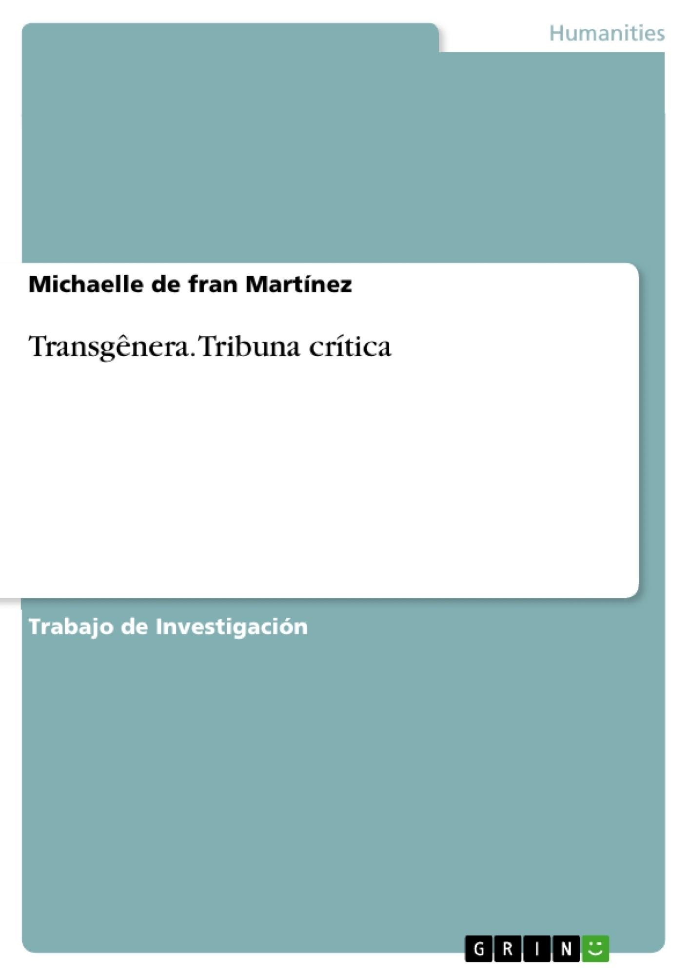 Título: Transgênera. Tribuna crítica