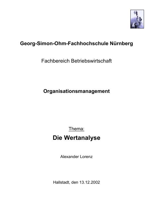 Titel: Grundlagen der Wertanalyse