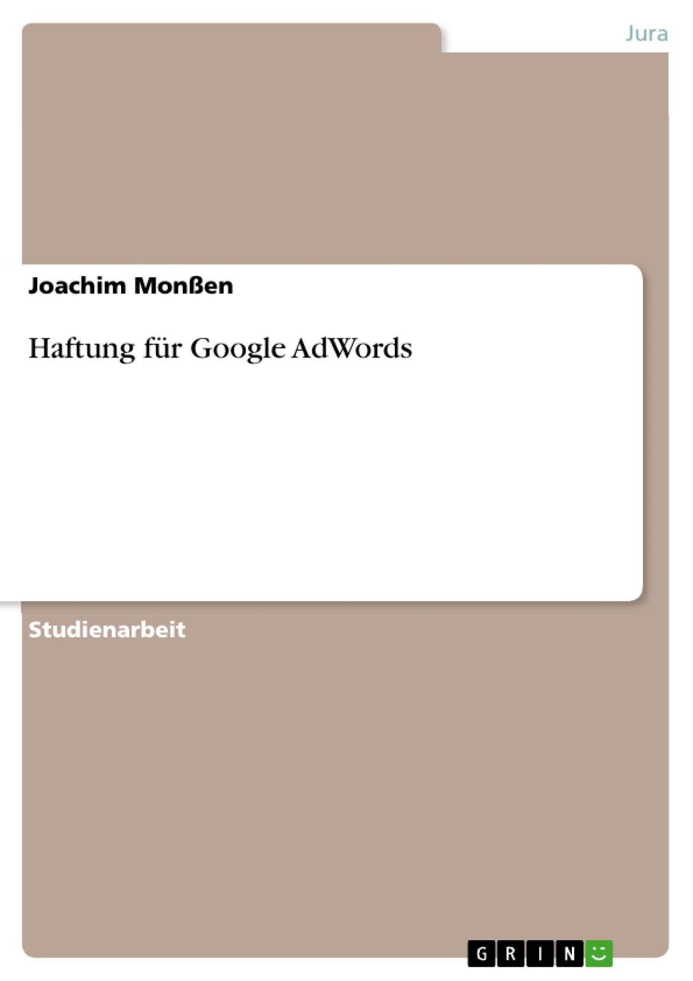 Titel: Haftung für Google AdWords