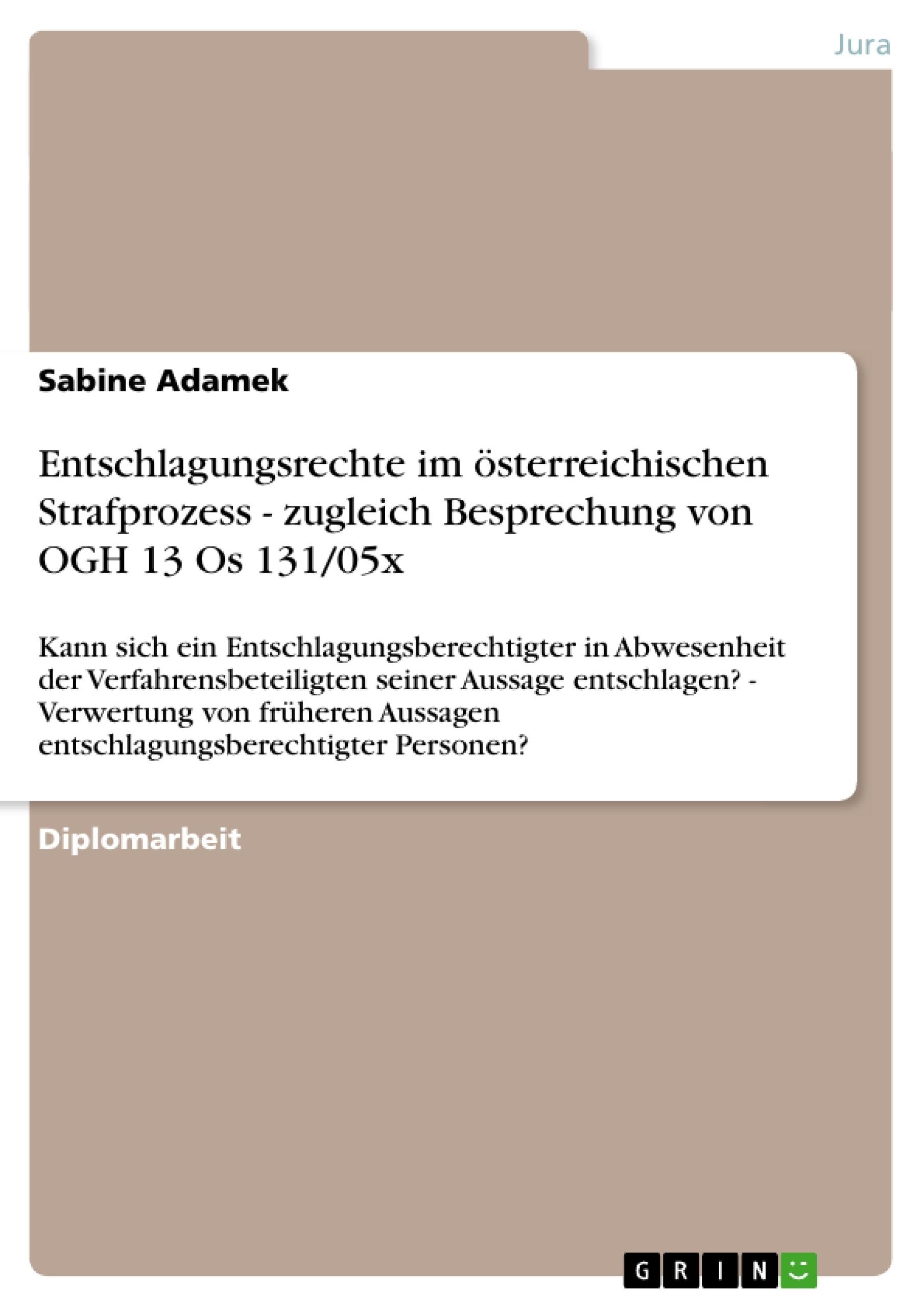 entschlagungsrechte im sterreichischen strafprozess zugleich publish your master 39 s. Black Bedroom Furniture Sets. Home Design Ideas