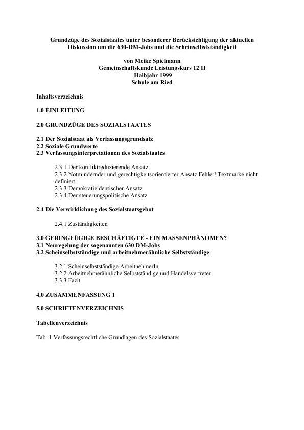 Titel: Grundzüge des Sozialstaates unter besonderer Berücksichtigung der aktuellen Diskussion um die 630-DM-Jobs und die Scheinselbstständigkeit
