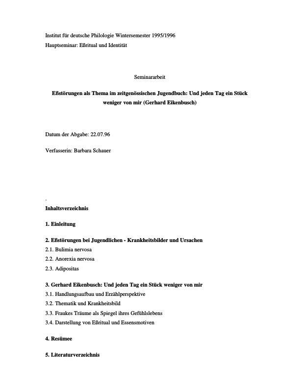 Titel: Eßstörungen als Thema im zeitgenössischen Jugendbuch: Und jeden Tag ein Stück weniger von mir (Gerhard Eikenbusch)