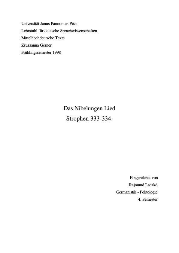 Titel: Das Nibelungen Lied, Strophen 333. und 334