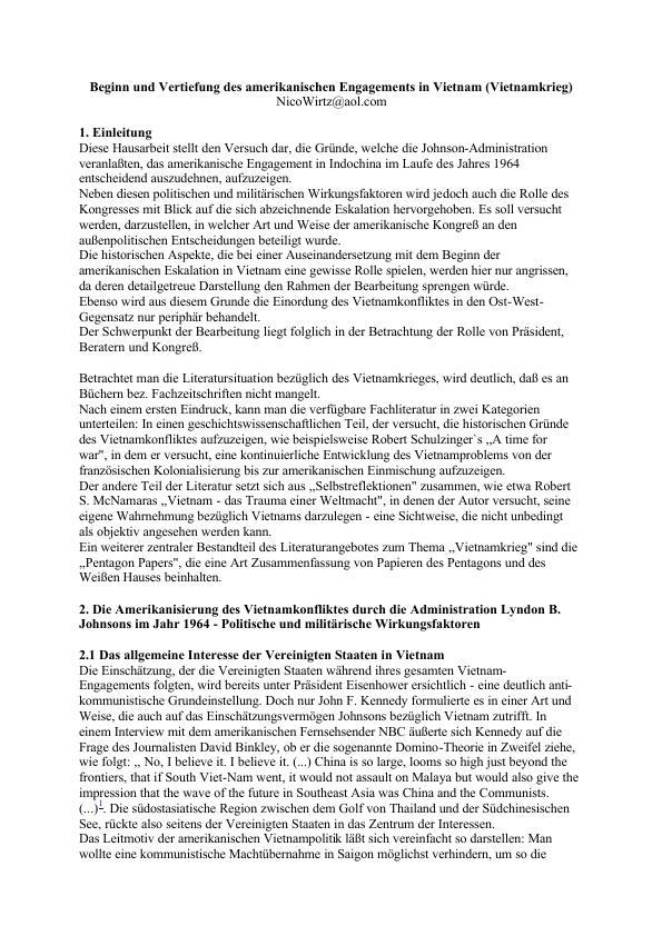 Titel: Beginn und Vertiefung des amerikanischen Engagements in Vietnam (Vietnamkrieg)