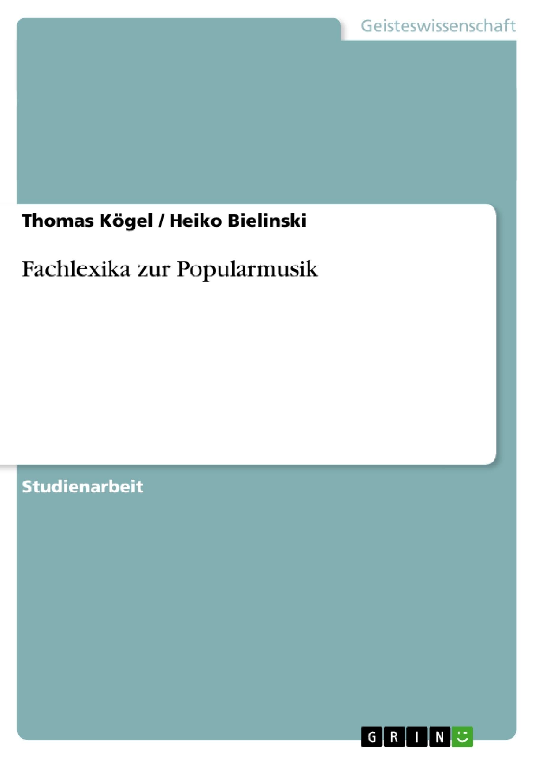 Titel: Fachlexika zur Popularmusik