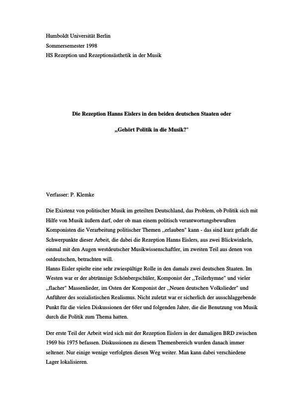 """Titel: Die Rezeption Hanns Eislers in den beiden deutschen Staaten oder """"Gehört Politik in die Musik?"""""""