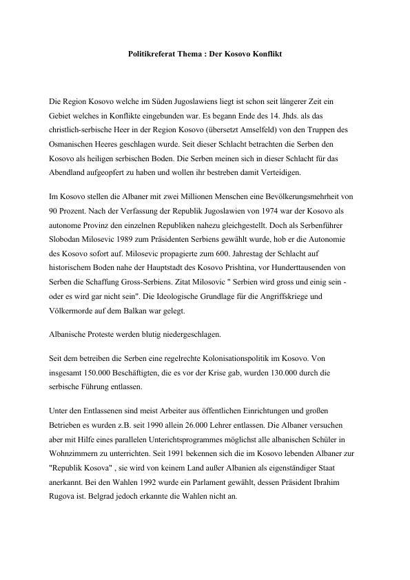 Titel: Politikreferat Thema: Der Kosovo Konflikt