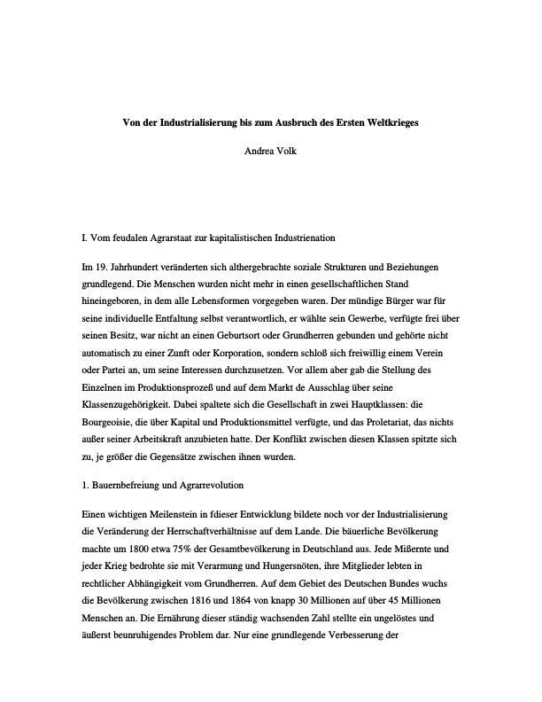 Titel: Von der Industrialisierung bis zum Ausbruch des Ersten Weltkrieges