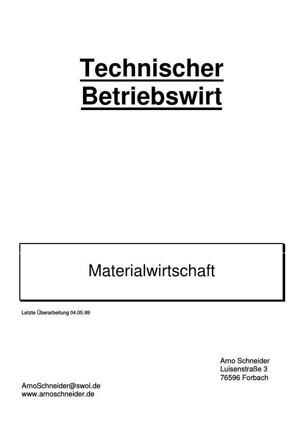 Titel: Grundlagen der betrieblichen Materialwirtschaft