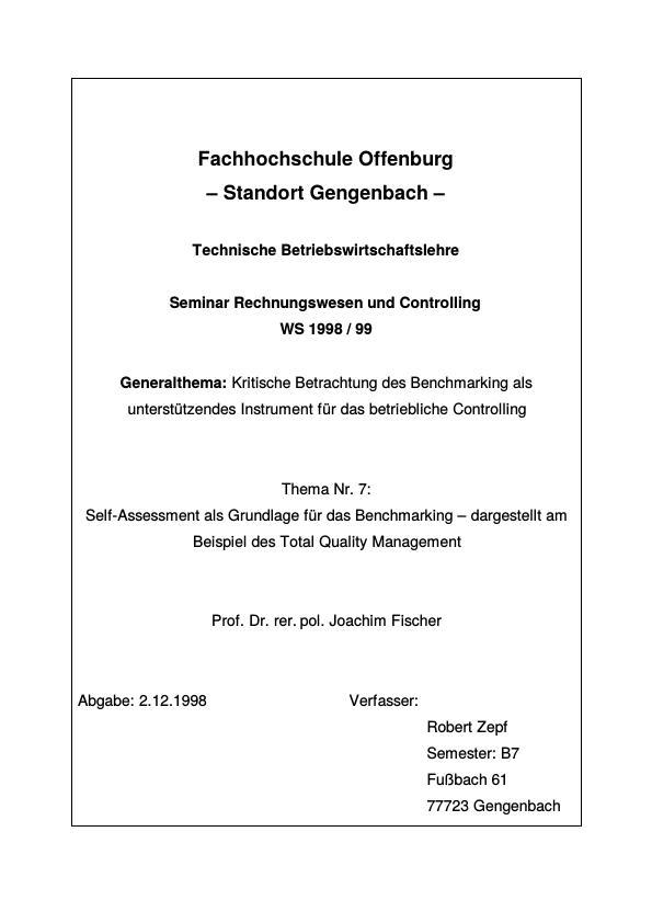 Titel: Self-Assessment als Grundlage für das Benchmarking - dargestellt am Beispiel des Total Quality Management