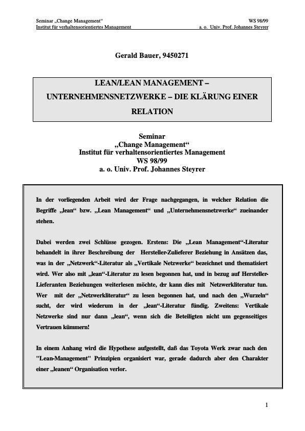 Titel: Lean Management - Netzwerke - die Klaerung einer Relation