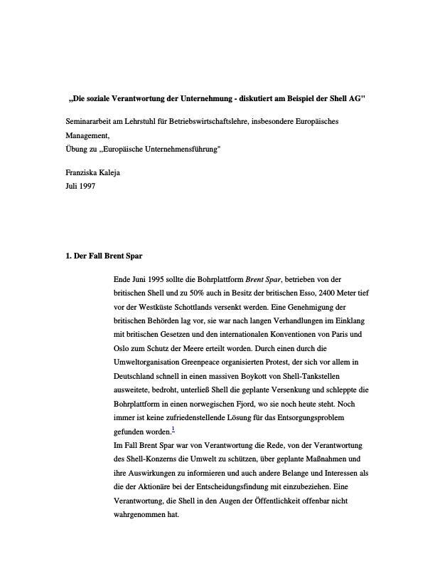 Titel: Die soziale Verantwortung der Unternehmung - diskutiert am Beispiel der Shell AG
