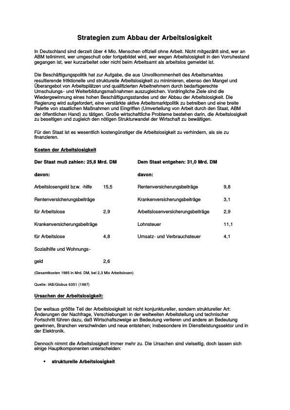 Titel: Strategien zum Abbau der Arbeitslosigkeit