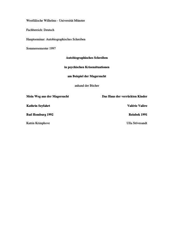 Titel: Autobiographische Schreiben in psychischen Krisensituationen, Magersucht