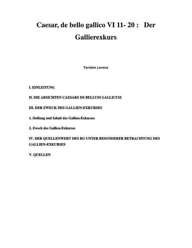 Titel: Caesar, de bello gallico VI 11- 20: Der Gallierexkurs