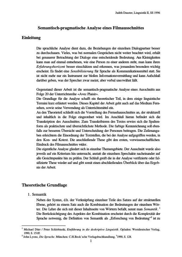 Titel: Semantisch-pragmatische Analyse eines Filmausschnitts
