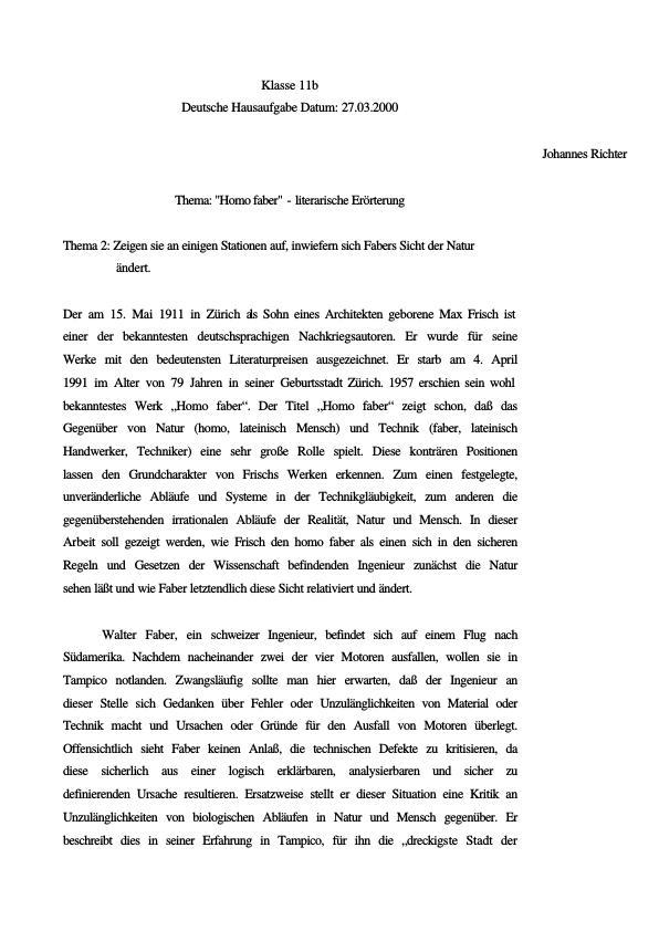 Titel: Frisch, Max - Homo Faber - Änderung des Naturbildes vom Homo Faber
