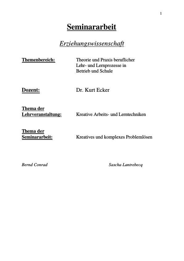 Titel: Kreative Arbeits- und Lerntechniken