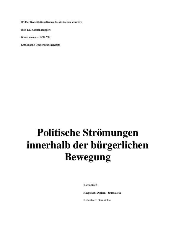 Titel: Politische Strömungen innerhalb der bürgerlichen Bewegung