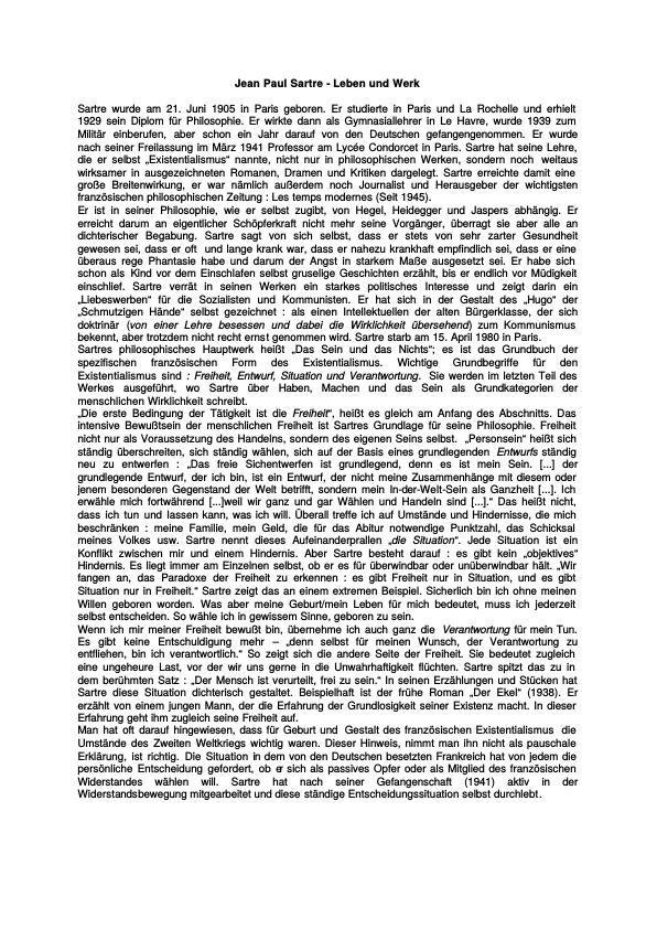 Titel: Jean Paul Sartre - Leben und Werk