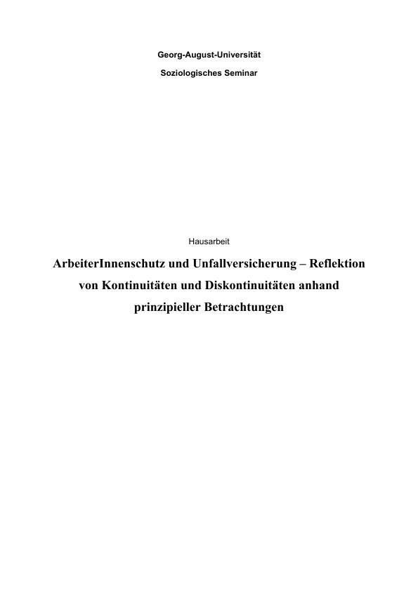 Titel: ArbeiterInnenschutz und Unfallversicherung