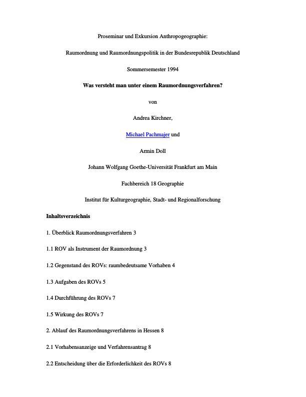 Titel: Raumordnung und Raumordnungspolitik in der Bundesrepublik Deutschland