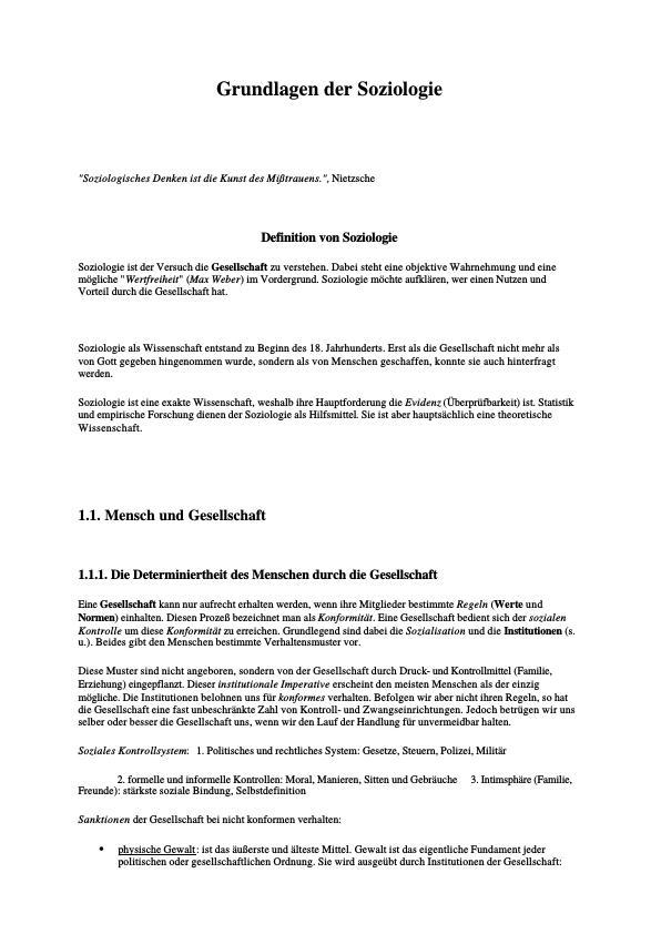 Titel: Grundlagen der Soziologie