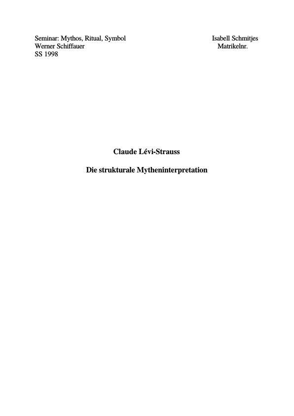 Titel: Claude Lévi-Strauss - Die strukturale Mytheninterpretation