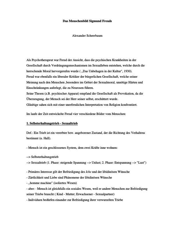 Titel: Das Menschenbild Sigmund Freuds