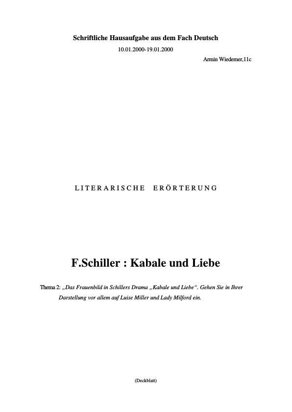 Titel: Schiller, Friedrich - Kabale und Liebe - Das Frauenbild in Schillers Drama