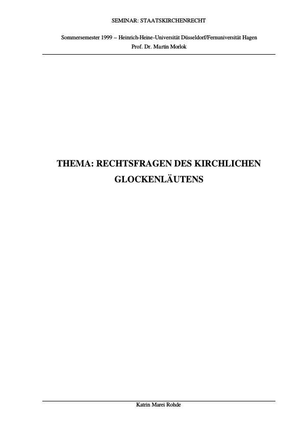 Titel: Rechtsfragen des kirchlichen Glockenläutens
