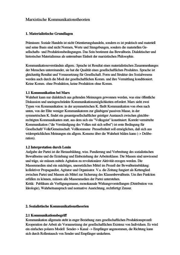 Titel: Kommunikationstheorie: Marxistische Theorie