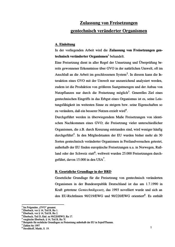 Titel: Zulassung von Freisetzungen gentechnisch veränderter Organismen